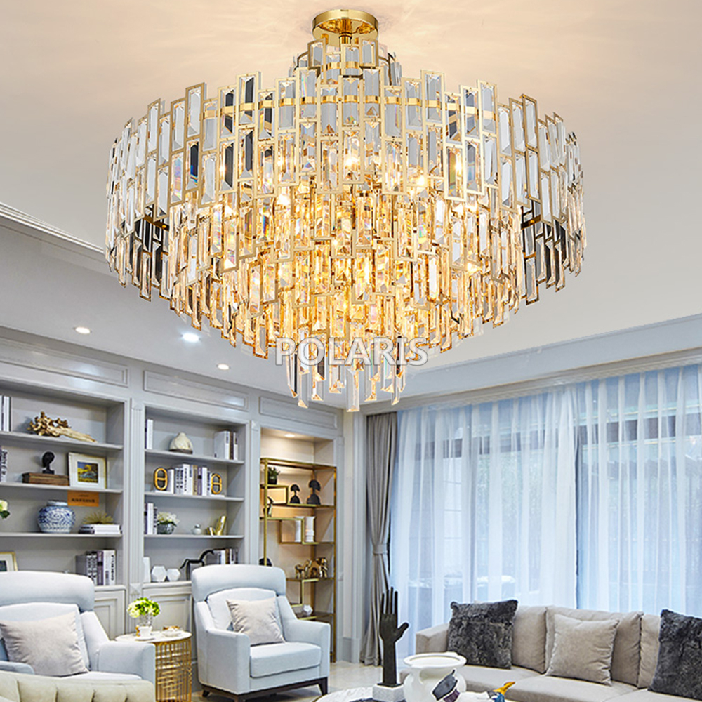 Modern Luxury Crystal Chandelier Lighting Fixture Contemporary Chandeliers Lamp Pendant Hanging Light For Home Restaurant Decor