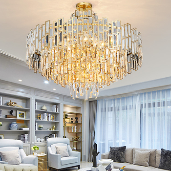 Modern Luxury Crystal Chandelier Lighting Fixture Contemporary Chandeliers Lamp Pendant Hanging Light for Home Restaurant Decor modern crystal chandelier big lamp led hanging lighting large glass globe glass chandeliers luxury stair crystal chandelier lamp
