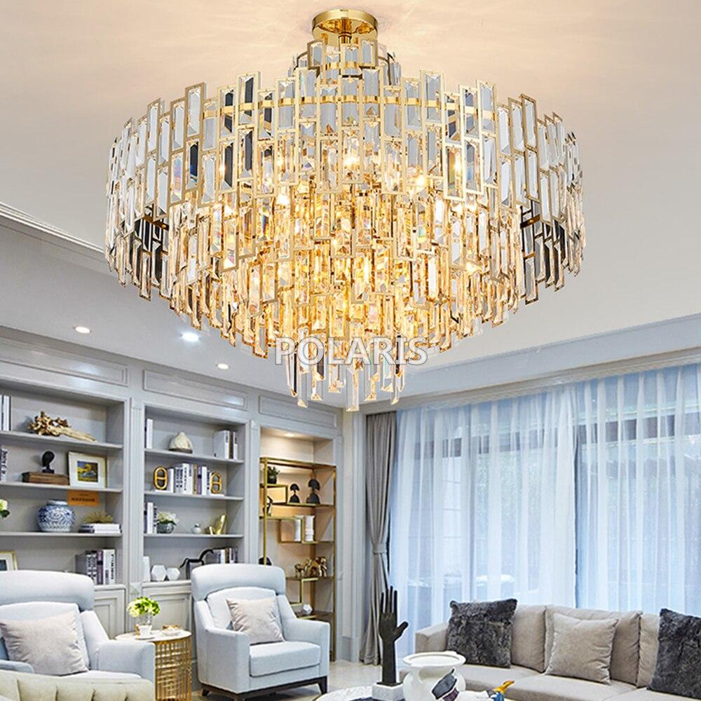 Modern Luxury Lustres Contemporânea Lâmpada Pingente Pendurado Luz do Candelabro de Cristal Luminária para Casa Decoração do Restaurante
