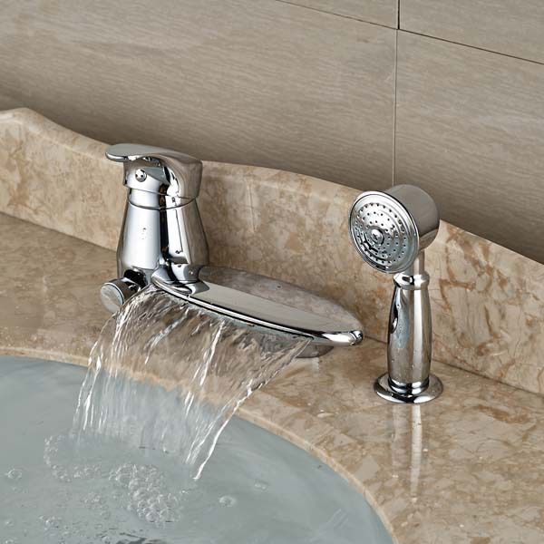 NEW Round Waterfall Spout Bathroom Tub Faucet W/ Pull Out Hand