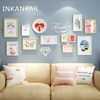 12pcs Modern Flamingo Fashion Wedding Painting Photo Frame Set Solid Wooden Large Pictures Frames Home Wall Decoration HF9354
