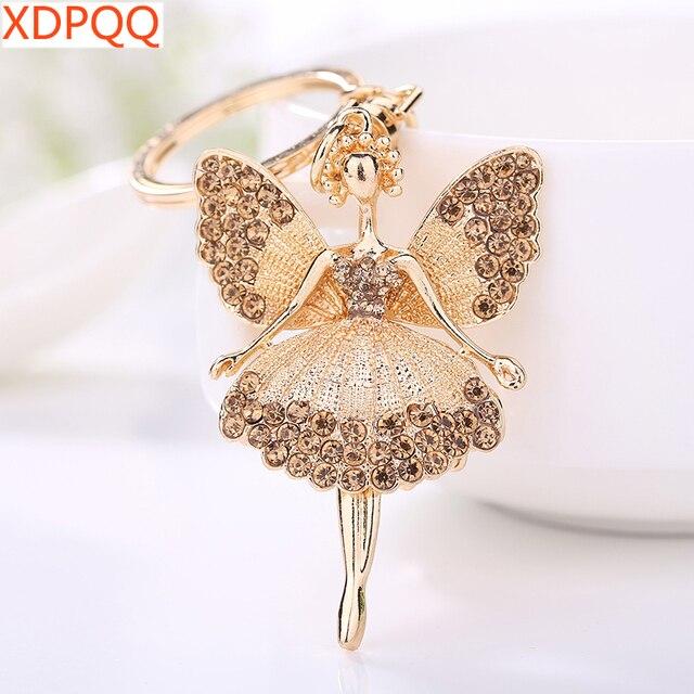 Creative Keychain Alloy Rhinestone Female Angel Keychain Handbag Pendant Car Keychain Woman Jewelry Man Jewelry Belt Buckle