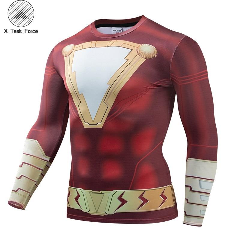 Shazam 3D Printed T Shirts Men Compression Shirts Raglan Sleeve 2019 Newest Pattern Comic Tops Male Comics Cosplay Costume Cloth