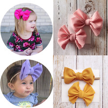 2pcs Fashion Corn Cotton Girls Hair Bows Clips Elastic Headband For Baby Toddlers Kids Headbands Accessories