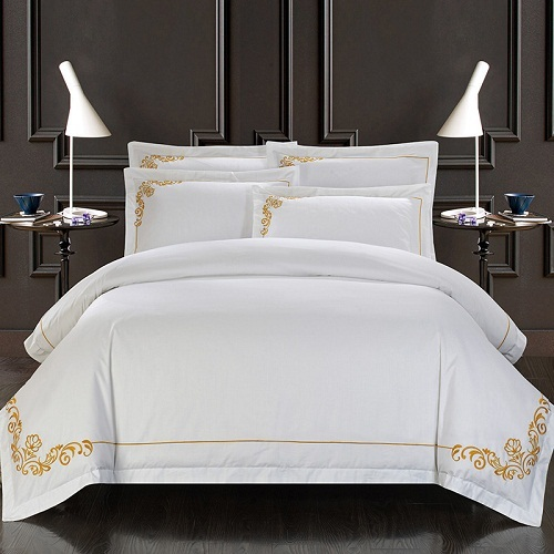 100 Cotton White Embroidered Hotel Bedding Set 4 6pcs King Queen Size Luxury