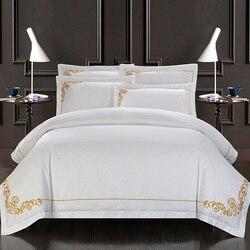 Chic haftowane zestaw poszewek 4/6 sztuk biały zestaw pościeli hotelowej król rozmiar queen luksusowe miękka pościel prześcieradło poszewki na poduszki