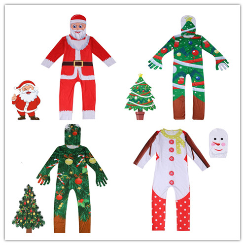 Christmas Tree Santa Cosplay Costume For Teen Boy Girl Set Halloween Hat Print Romper Jumpsuit Outfit Child Tracksuit Boutique