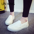 LIN KING New Retro Rivets Women Loafers Fashion PU Flat Shoes Solid Thick Sole Lazy Casual Shoes Low Top Single Shoes For Female