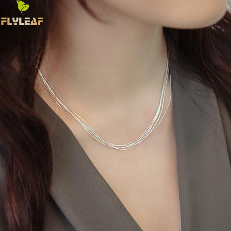 925 Sterling Silver Multilayer Chain Necklace For Women Kvinnor Enkel Style Förhindra Allergi Sterling-Silver-Smycken Collier Femme