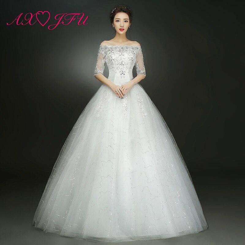 AXJFU Flower Princess White Lace Wedding Dress Vintage Party Princess Boat Neck Half Sleeve Beading Red Lace Wedding Dress