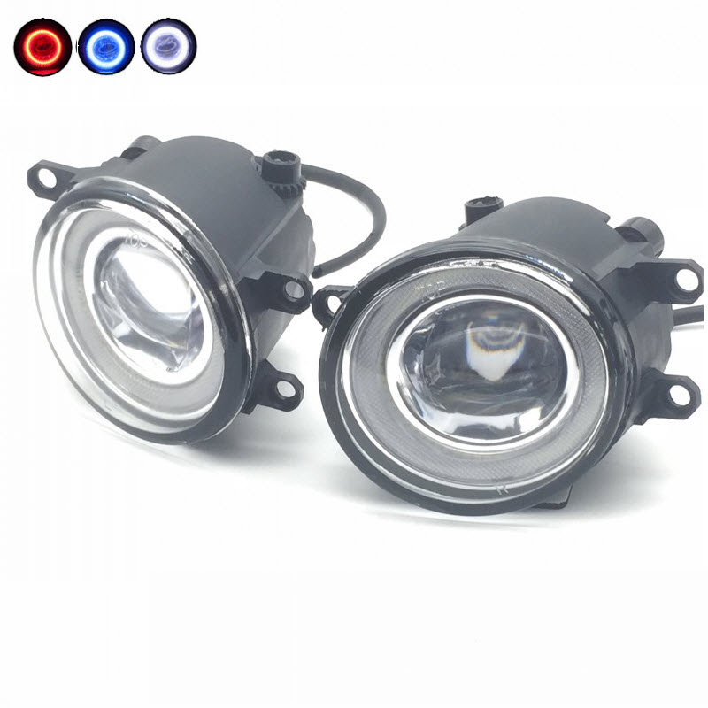 For Toyota Yaris Sedan Vios 2007-2016 2 in 1 LED Cut-Line Lens Fog Lights Lamp 3 Colors Angel Eyes DRL Daytime Running Lights car styling 2 in 1 led angel eyes drl daytime running lights cut line lens fog lamp for land rover freelander lr2 2007 2014