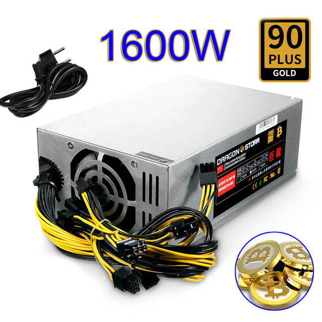 1600W Bitcoin Mining Machine ATX Power Supply For BTC ETH Antminer S7 S9 D3 R4 New QJY99
