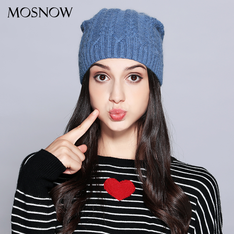f79c4fc7cc6 MOSNOW Woman Winter Hats Wool Solid New Autumn 2018 High Quality Fashion  Winter Knitted Hat Female Skullies Beanies  MZ707A-in Skullies   Beanies  from ...