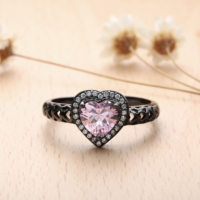 Czarny Pistolet Romantyczny Serce Finger Pierścienie Nowa Miłość