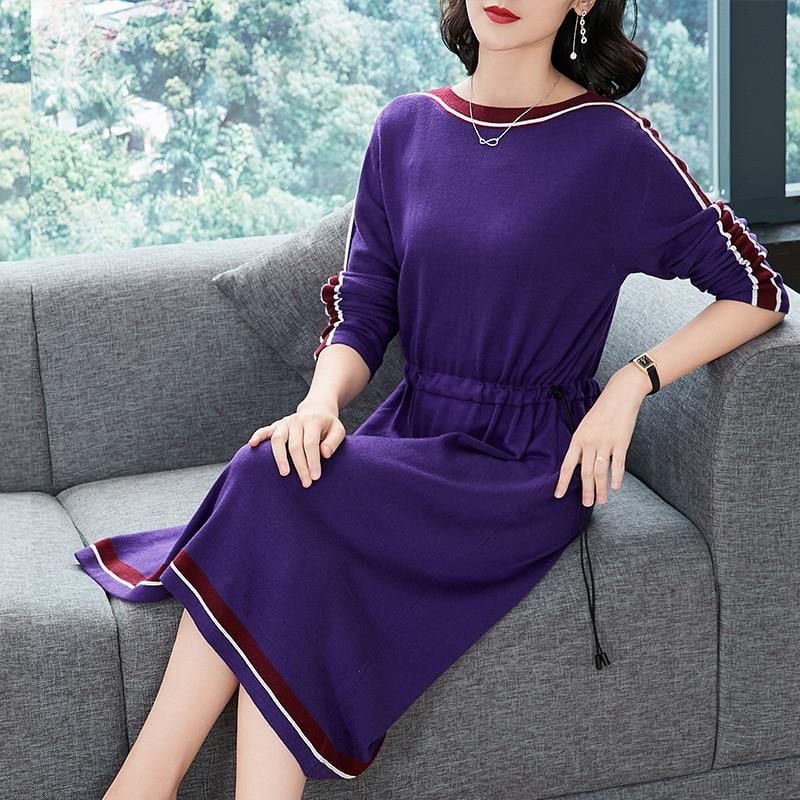 Rayado 2018 Mujer púrpura Nuevo Elegante azul Caqui Largo Marino Otoño Vestido Suéter Jerseys Femenino FdwxdZq8