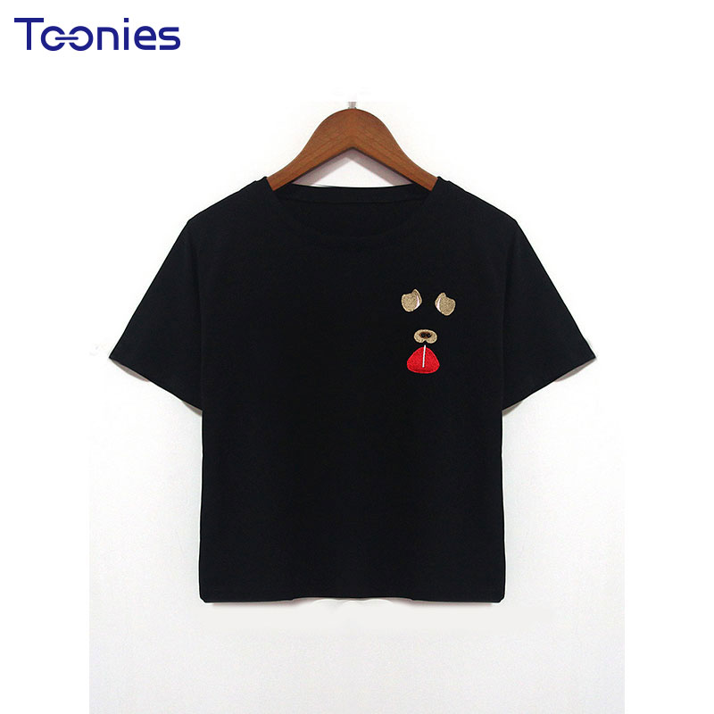 Women Designer Letter Tops Retro Dog Embroidery Summer Black Harajuku tshirts Special All-match Short Style Fashion cute Tee