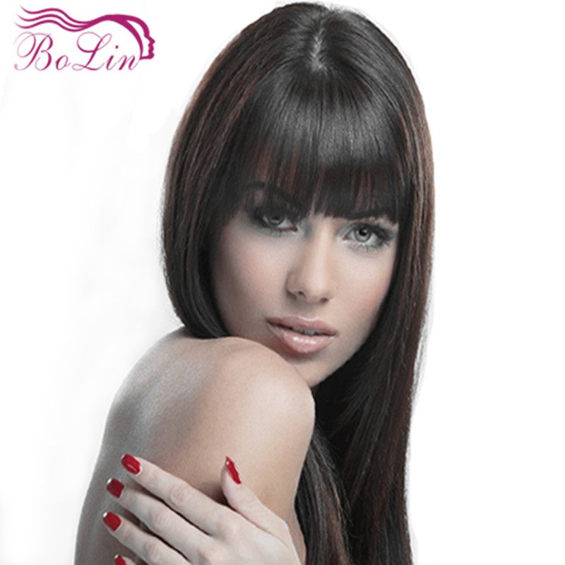Silky Straight Indian Remy Hair Wig With Bang Lace Front