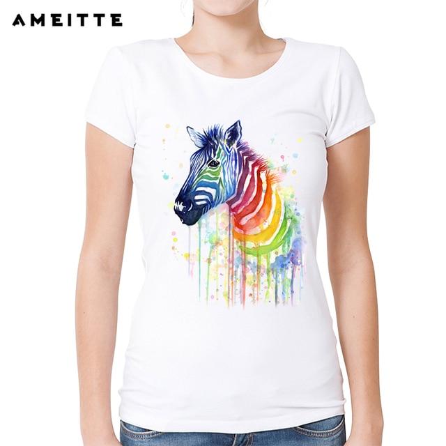 09f09779f 2018 Fashion Rainbow Zebra T-shirt Women's Watercolor Animal Printed T Shirt  Summer Hipster Female