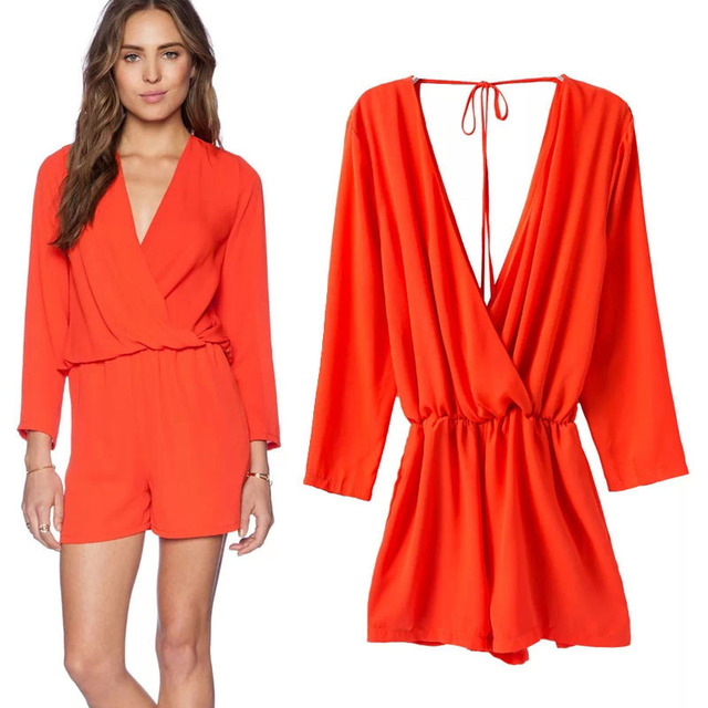 07f7e0ecf303 Spring   Summer 2015 New V-neck Backless Long Sleeve Jumpsuits Bodysuit  Playsuit Women Shorts Elastic Waist String Red Size S-L