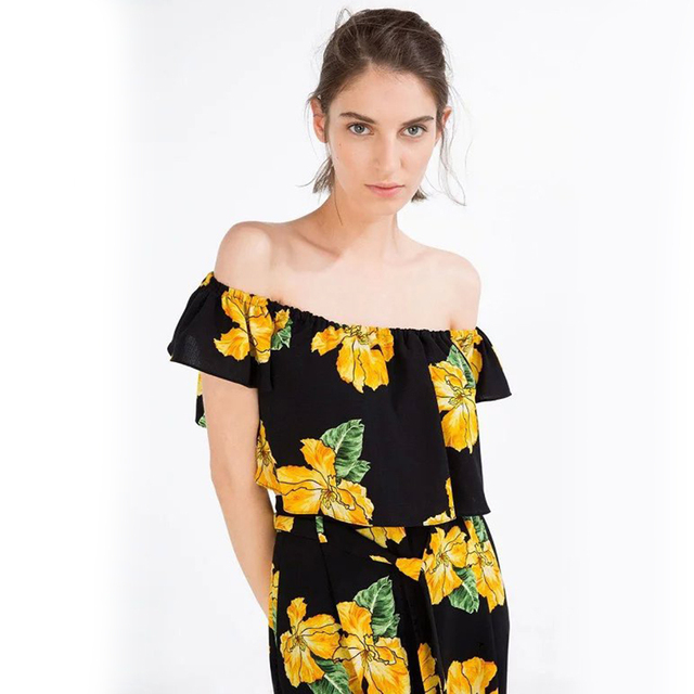 d8dba15c99a1 Off Shoulder Tops Yellow Floral Blouse Sexy Slash Neck Ruffles Crop Top  Women Summer Beach Wear Cropped Tees Blusas 2016 New