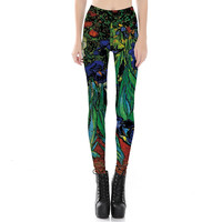Women Floral Oil Painting Print Leggings Fitness Workout Cheerleader Rooter Pants Hiphop Party Elastic Fiber Unisex Trousers