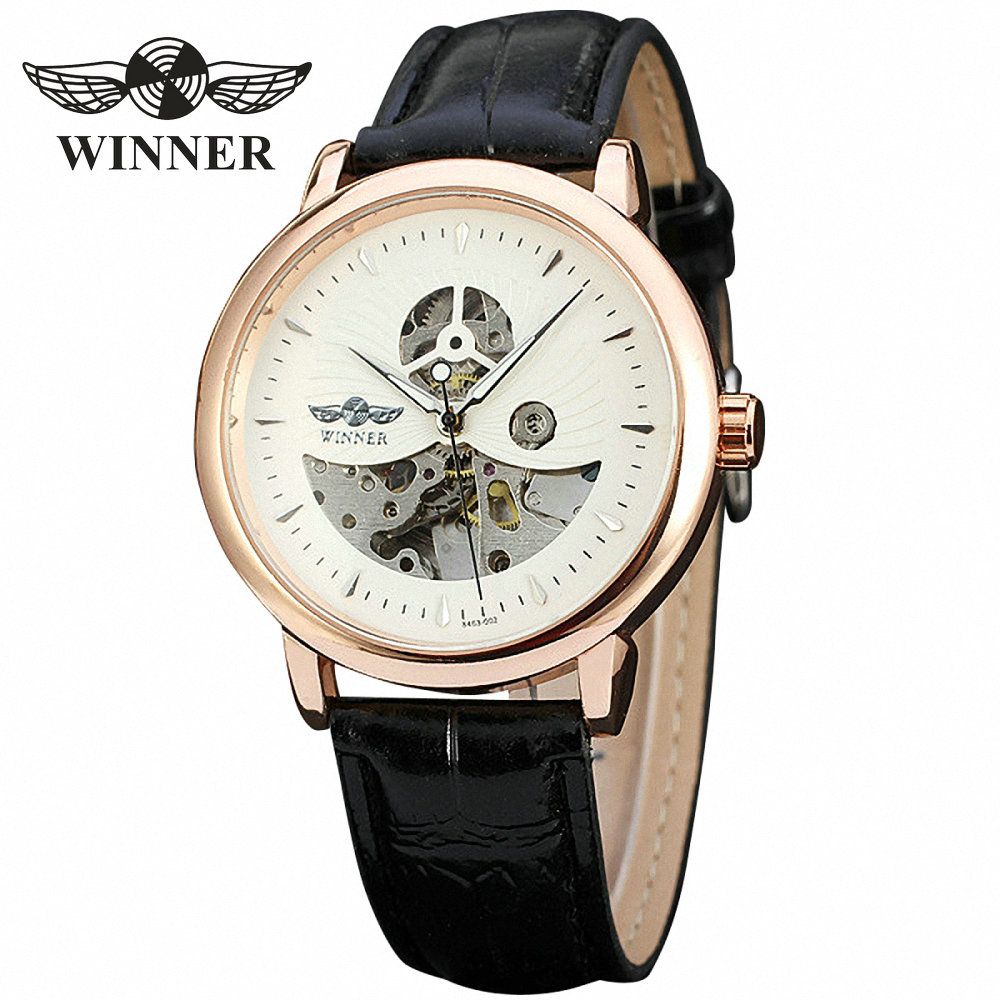 T-WINNER 2017 Men Business Auto Mechanical Wrist Watch Leather Band Hollowed Dial Half Skeleton Top Brand Design + GIFT BOX 2017香港特别行政区旅游交通图