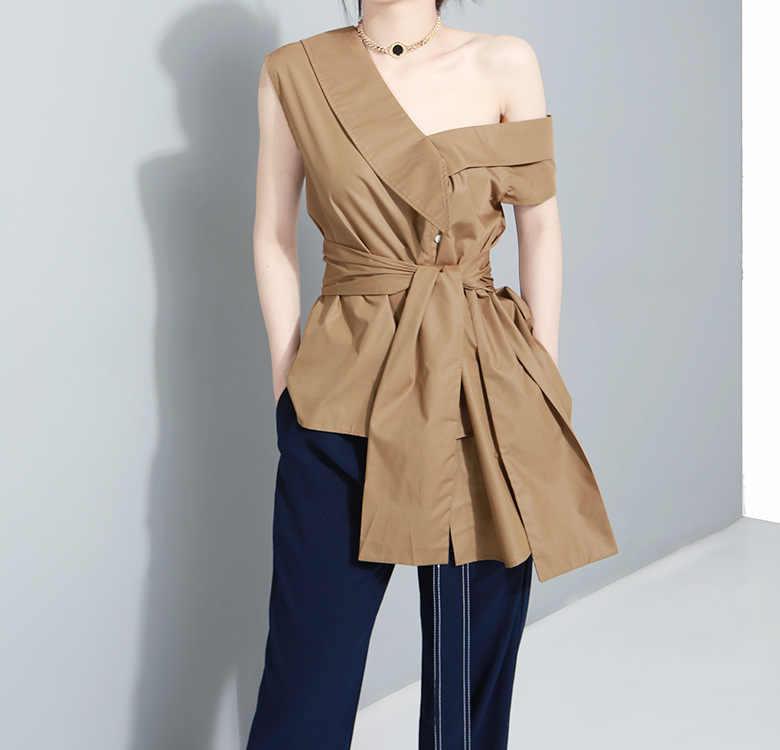 Verão novo camisa ombro off sexy bluse V colarinho blusas mujer blusa arco moda feminina roupas de algodão camisas sem mangas