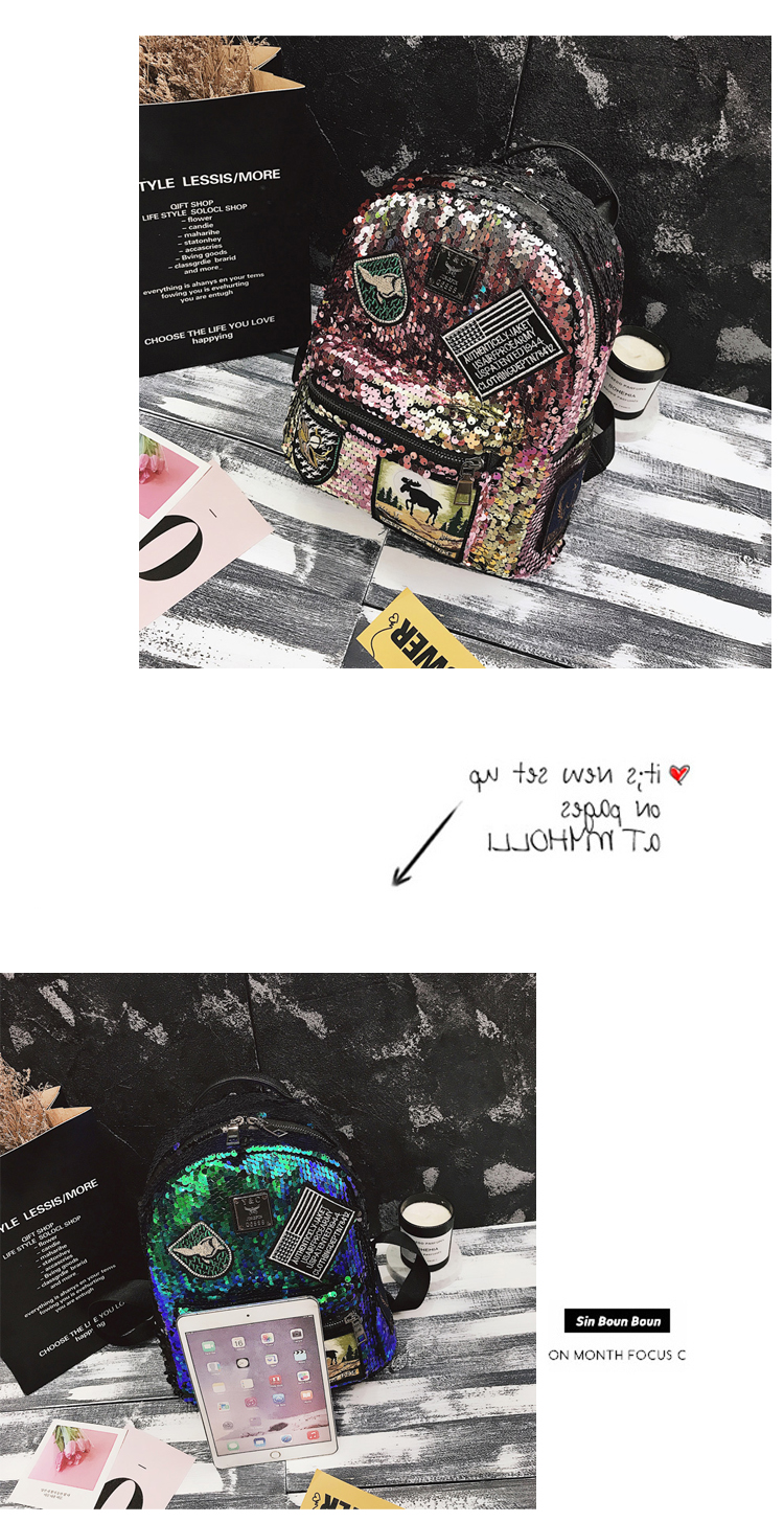Sequin Backpack Korean version 2018 New Personality Badge Fashion Backpack Wild Casual 18