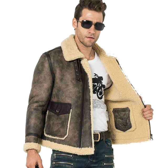 Men Fur Coat Flight Jacket B 3 Bomber Leather Jacket Men S Shearling