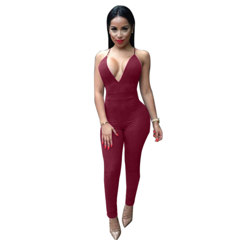 68c0f796ac53 Sleeveless Elegant Jumpsuit Fashion Bodycon Deep V neck Halter Cross Suede  Sexy Club Jumpsuits and Rompers for Women-in Jumpsuits from Women s  Clothing on ...