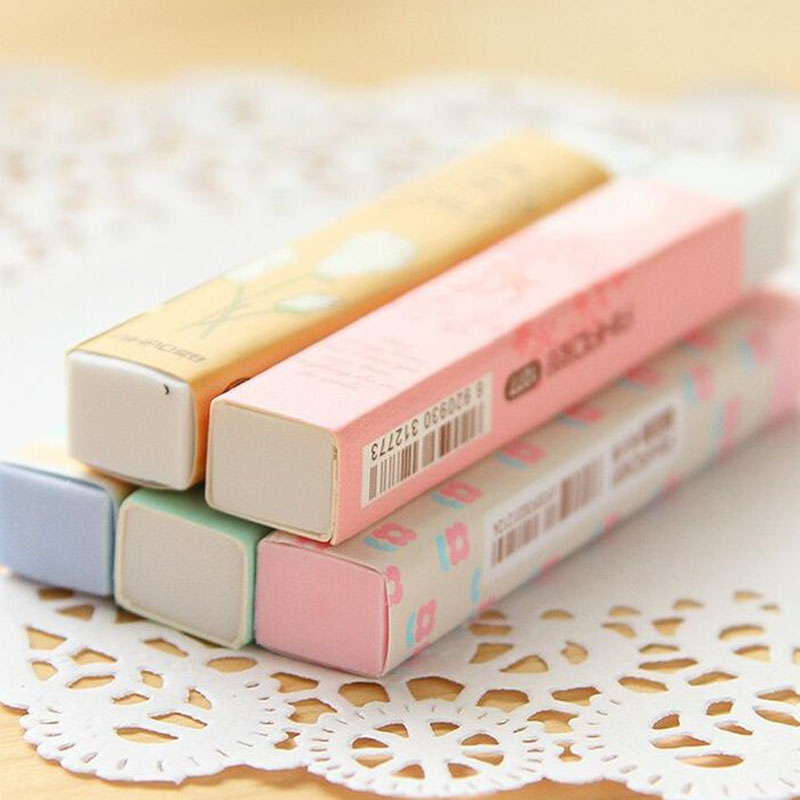 1 Pcs Lovely Stationery Kawaii Cartoon Long Style Flowers Rubber Pencil Erasers For Office School Kids Prize Writing Drawing