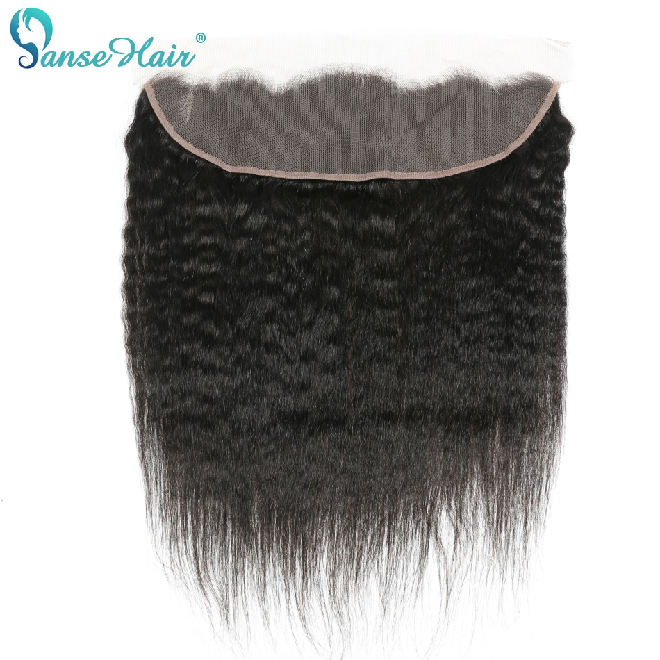 Panse Hair Brazilian Kinky Straight 13x4Lace Frontal Free Part Ear To Ear Human Hair Natural Color Non Remy Hair ...