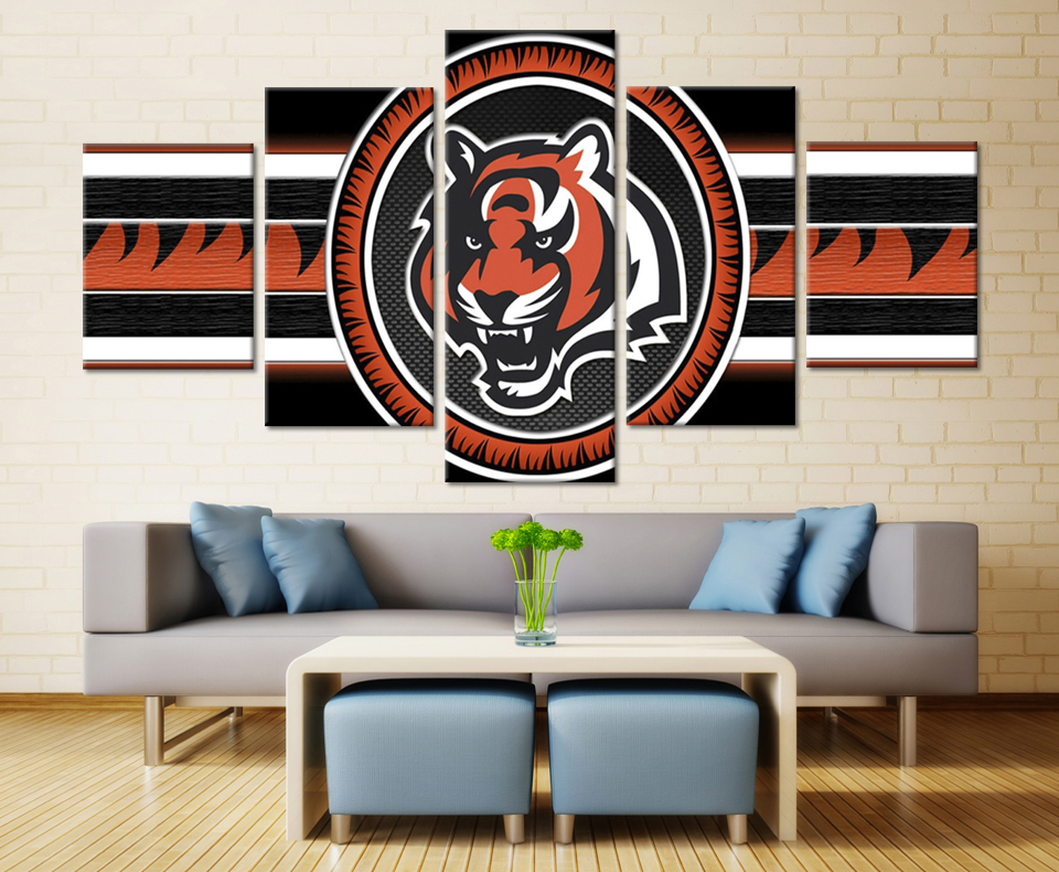 5 pieces cincinnati bengals modern home wall decor canvas modular picture art hd printed painting on - Home Decor Cincinnati