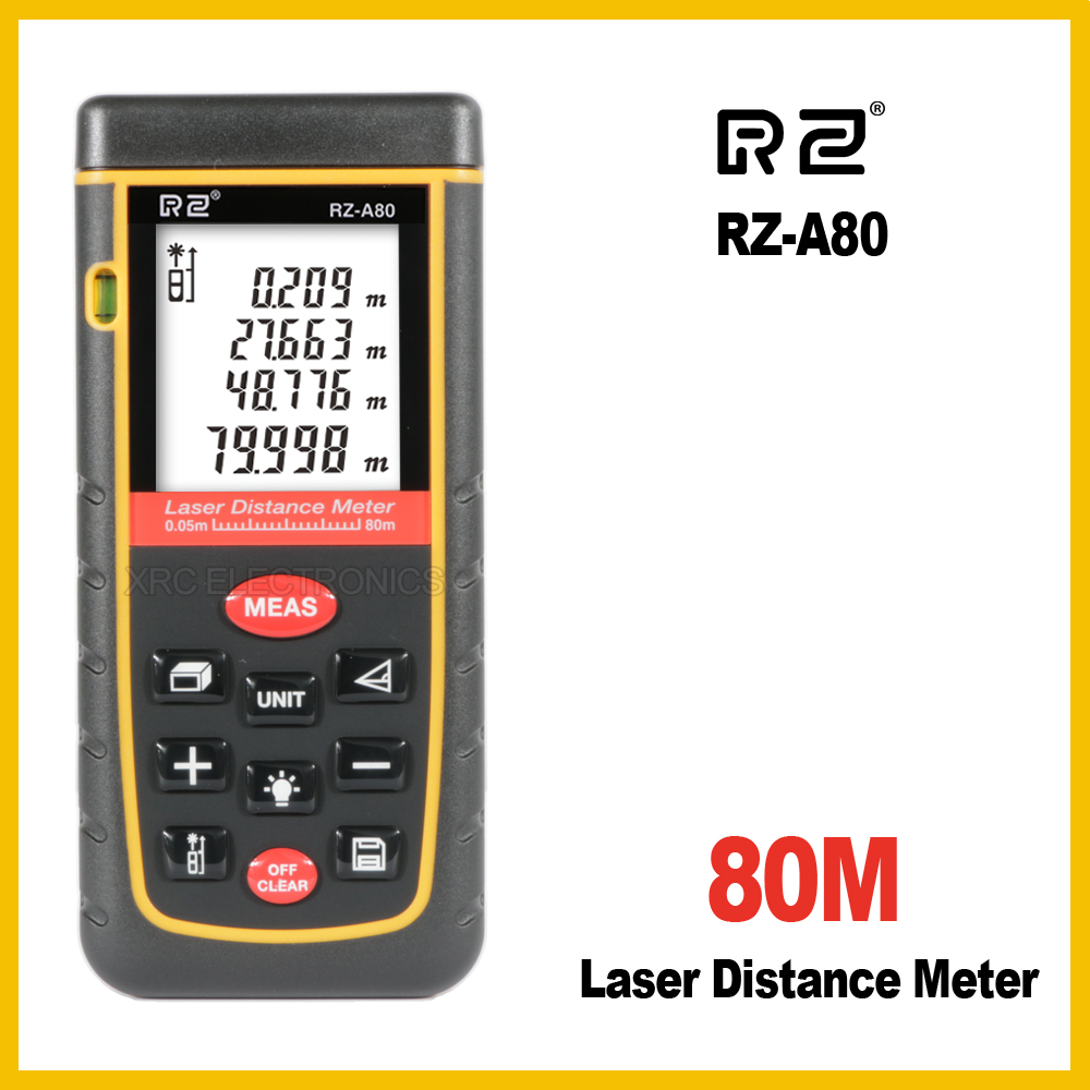 RZ RZ-A80 10 key 80M Laser Distance Meter Rangefinder Range Finder Electronic Ruler Digital Tape Measure Area volume Tool Bubble 80m handheld laser rangefinders digital laser distance meter infrared laser range finder tape ruler measure area volume tool