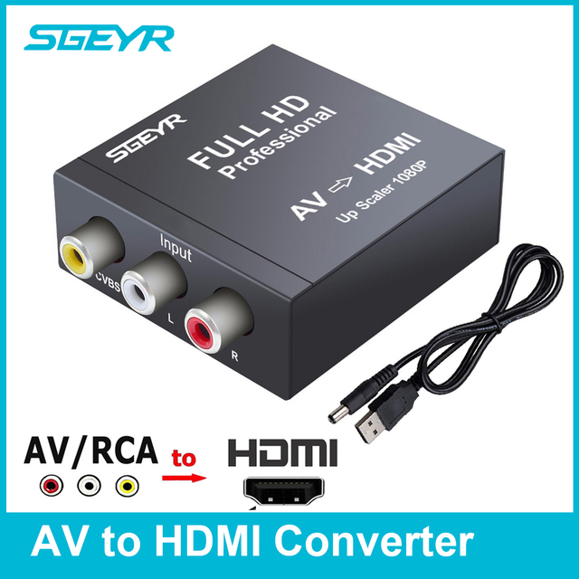 SGEYR AV to HDMI Converter RCA Composite video audio signals to HDMI