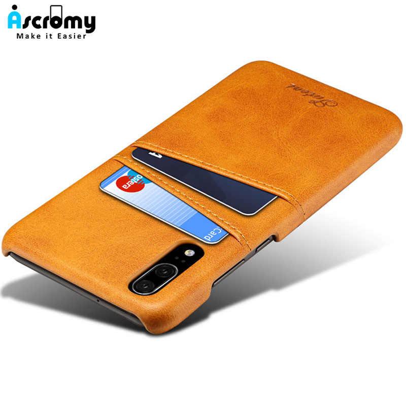 Ascromy para Huawei P20 Pro cartera caso de cuero de la PU tarjeta ranura de ID titular de la contraportada para Huawei P20 Pro p20Pro Mate 10 Coque