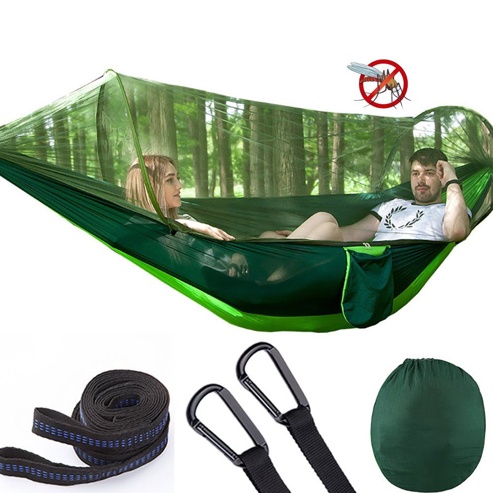 Automatic unfolding Outdoor Camping Hammock with Mosquito Net Parachute Hammocks Beds Hanging Swing Sleeping Bed Tree Tent