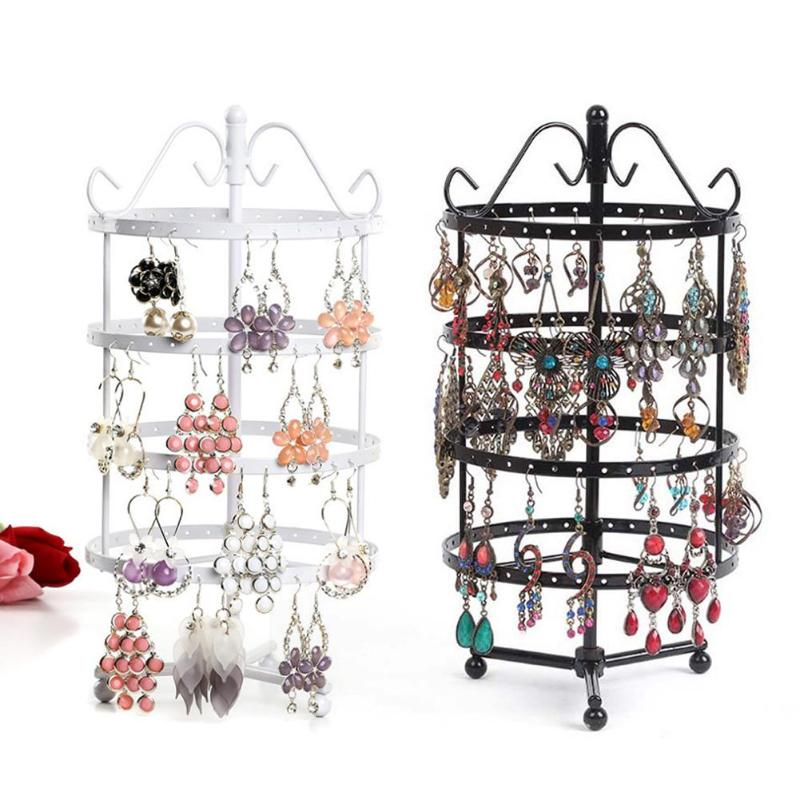 144 Holes 4 Tiers Round Rotating Spin Table Earring Holder Jewelry Stand Display Rack Towers Women Jewelry Stand Rack