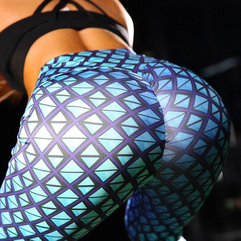 [You're My Secret] 2019 Big Ass High Waist Sexy Sport Scrunch Bum Legging for Women Blue Grid Winter Workout Fitness Ankle Pants