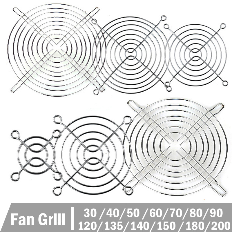 5 Pcs Cooling Case Fan Computer Fan Grill Metal Wire Finger Guard 30/40/50/60/70/80/90/120/135/140/150/170/200mm Metal Fan Grill