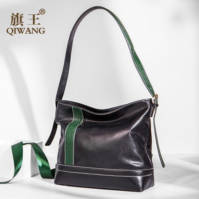 Qiwang di Marca sacchetto di Spalla del messaggero di crossbody borse per le donne borse di moda e borse In Pelle di Mucca animale Hobo bag femminile-in Borse a tracolla da Valigie e borse su  Gruppo 1