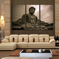 3 Piece Figure Painting Grand Buddha Art Canvas Home Living Room Wall Decoration Artwork HD Print Picture Canvas Unframed