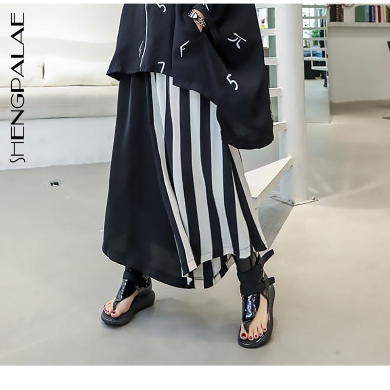 SHENGPALAE Trousers Spring Summer High Elastic Waist Loose Black Hit Color Striped Split   Wide     Leg     Pants   Women 2019 Fashion JU710