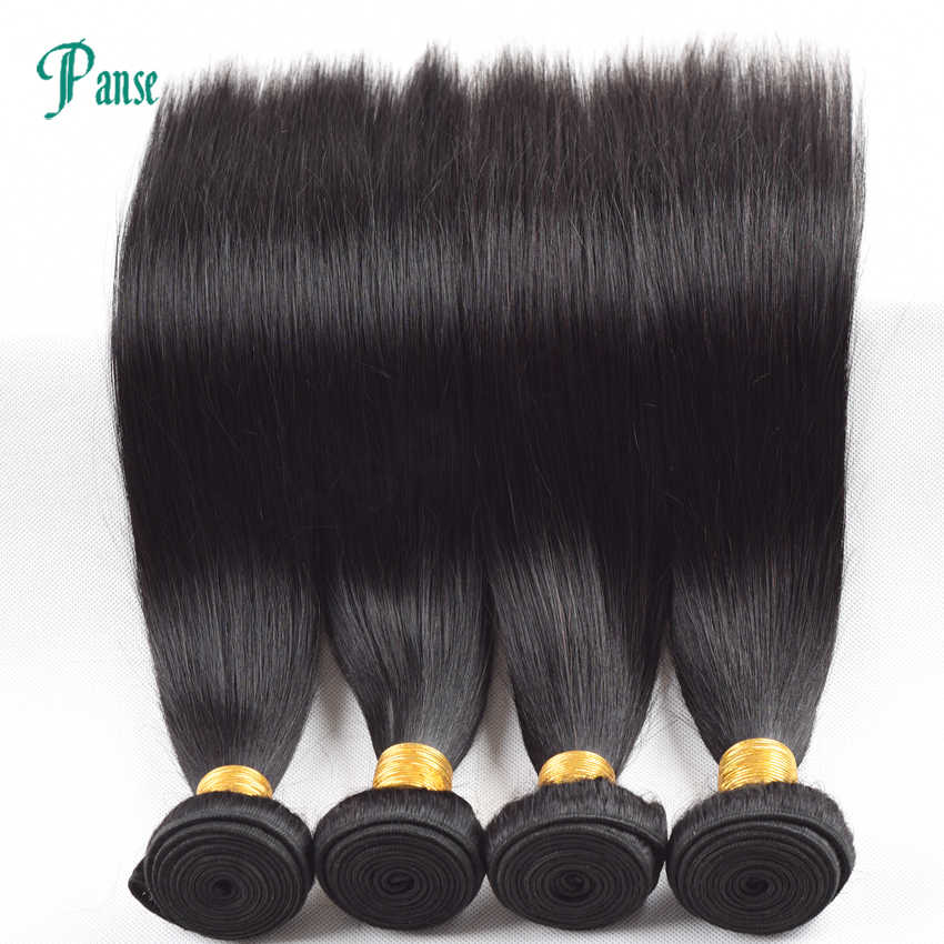 Panse Hair 3 Bundles Per lot Non Remy Peruvian Hair Straight Natural Black Hair Weaving mixed 8-30 inches