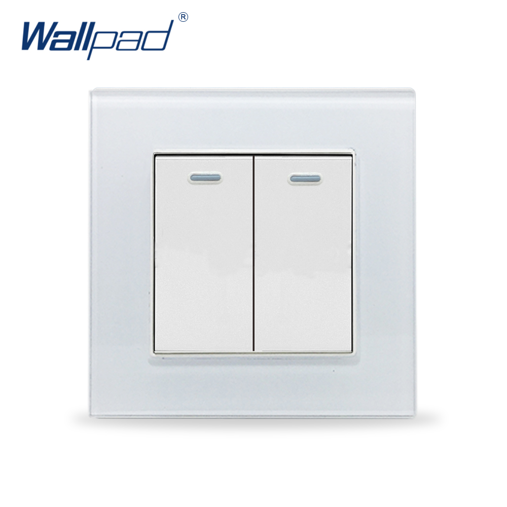 цена на 2 Gang 2 Way Wallpad Crystal Glass 110V-250V EU UK Standard Fluorescent Light 2 Gang 2 Way Push On Off Lighting Wall Switch