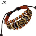 JS 2016 New Pulseira de Couro Male Handmade Friendship Bracelets Bangles Hippe Boho Cross Fashion Mens Jewlery LB058