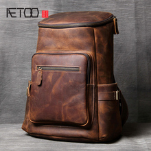 AETOO Handmade leather Shoulder Bag original head cowhide Backpack men and women mountaineering bag mad horse Skin travel