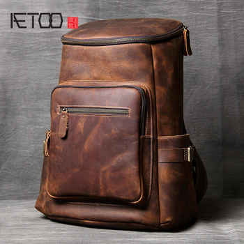 AETOO Handmade leather Shoulder Bag original head cowhide Backpack men and women mountaineering bag mad horse Skin travel Bag цена 2017