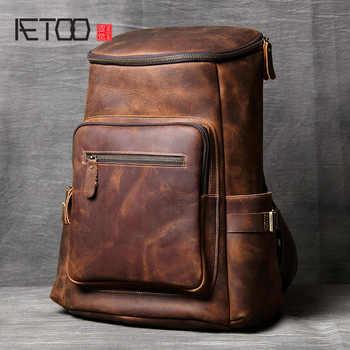 AETOO Handmade leather Shoulder Bag original head cowhide Backpack men and women mountaineering bag mad horse Skin travel Bag - DISCOUNT ITEM  52 OFF Luggage & Bags
