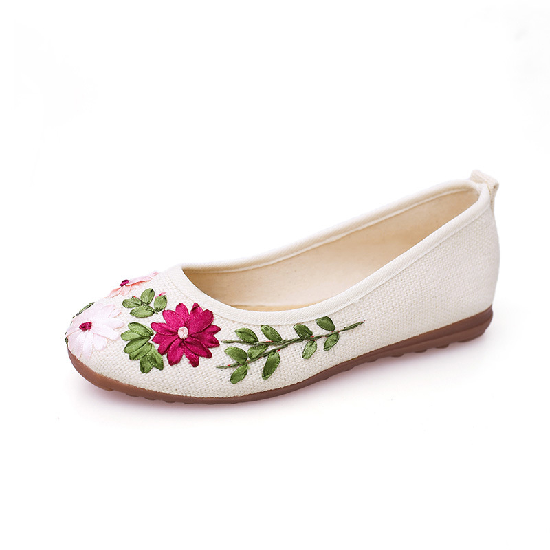 ZHENZHOU 2018 Women Flower Flats Slip On Cotton Fabric Casual Shoes Comfortable Round Toe Flat Shoes Woman Plus Size